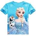 Meninas do bebê Da Menina Congelado T Shirt Da Menina do Algodão Verão T-shirt 35E