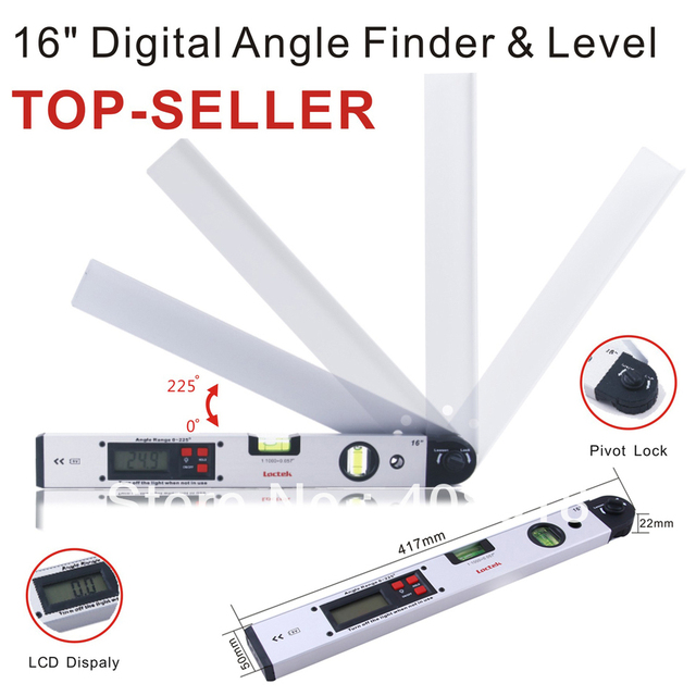 Free Shipping Aluminum Angle Slope Finder Vertical+Horizontal Digital Display 16'' Spirit  laser Level Measuring tool