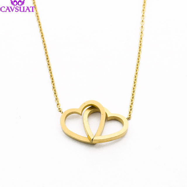 6f00da4d6bc42 US $1.92 20% OFF|Simple Double Heart Pendant Necklace Chain Jewelry Minimal  Layering Knot Love Heart Necklace Intertwined Ketting Hanger Hart-in ...