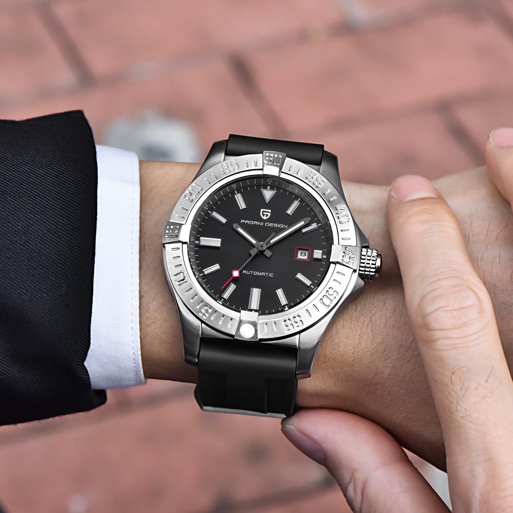 Pagani design mens 시계 탑 럭셔리 클래식 고무 스트랩 기계식 시계 패션 캐주얼 방수 30 m 자동 시계 saat-에서기계식 시계부터 시계 의  그룹 2