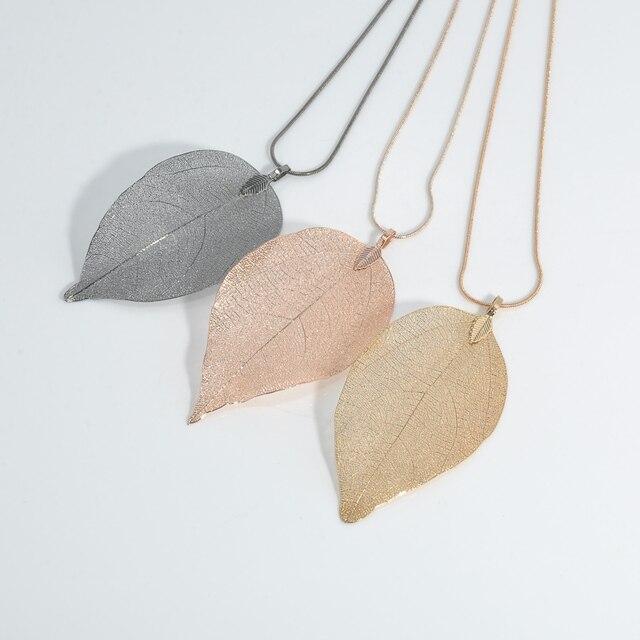 Женщины Ювелирные Изделия Розовый Черное Золото Листья Листья Подвеска Длинное Ожерелье Цепи Свитера