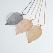 Women Fashion Jewelry Pink Black Gold Leaves Leaf Pendant Long Sweater Chain Necklace