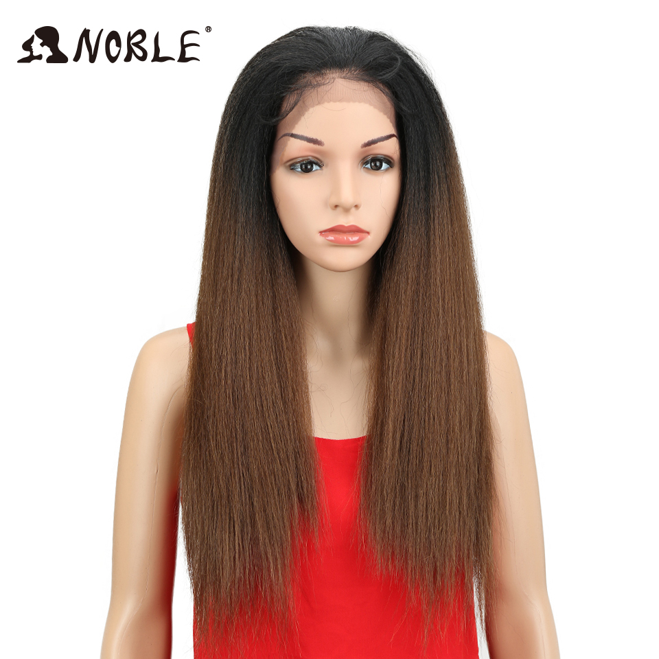 Noble Synthetic Lace Front Wigs Brown Color Yaki Straight Natural Hairline 26 Heat Resistant Fiber Daily Wigs For Black Women