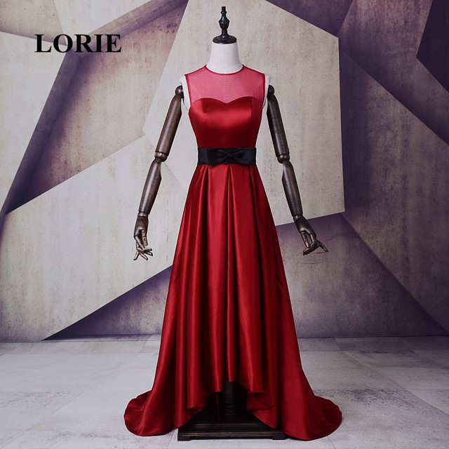 LORIE Hot Sale Wine Red Evening Dress A-Line O-Neck Satin Long Prom Dress  Free Shipping Party Gown vestido de festa longo 2017 7cc799884e29