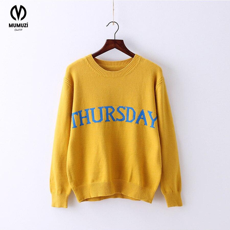 MUMUZI 2017 Popular American Fashion Monday Tuesday Friday Rainbow Color Sweaters Pullov ...