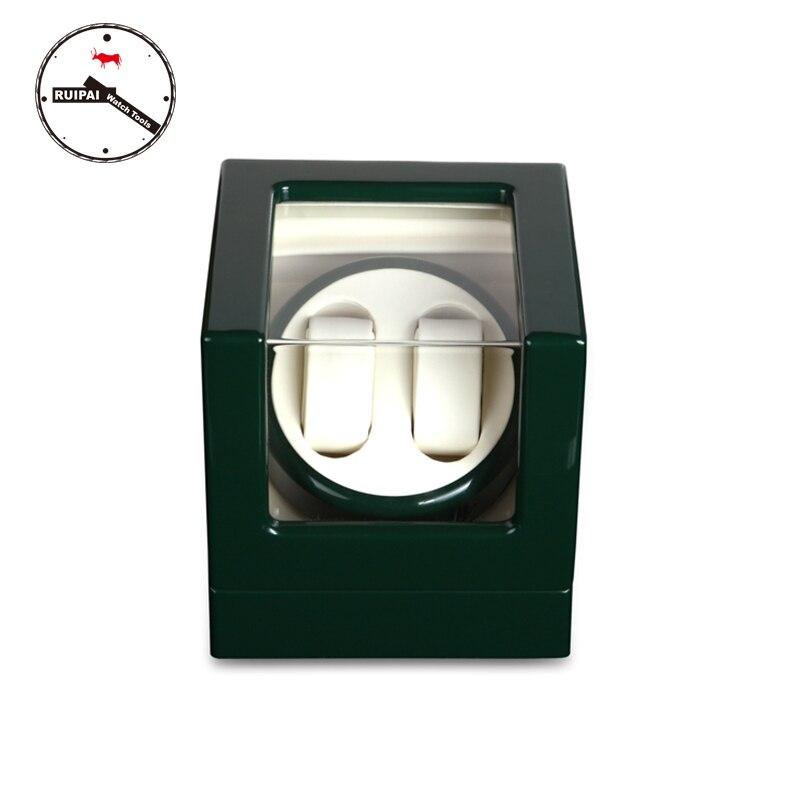 Ultra Lusso 2 + 0 Legno Watch Winder, verde Paiting Pelle allinterno di 5 modi di avvolgimento automatico watch winderUltra Lusso 2 + 0 Legno Watch Winder, verde Paiting Pelle allinterno di 5 modi di avvolgimento automatico watch winder
