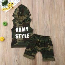 2pcs Toddler Baby Boy Hooded Sleeveless T shirt Tops Short Pants Camouflage Clothes Outfits Set 2019 цена в Москве и Питере