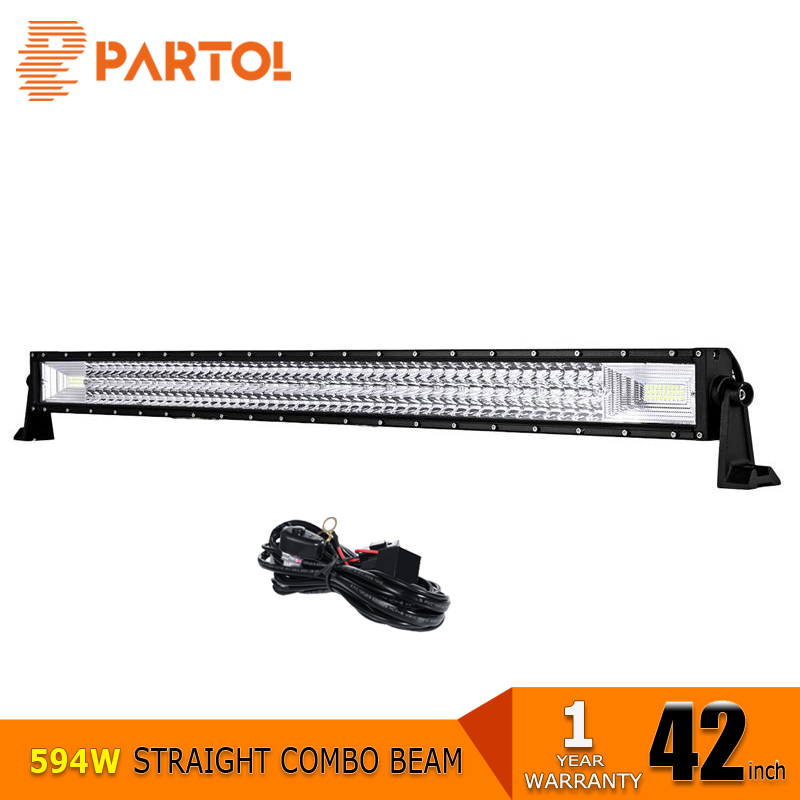 Partol 42 inch 594W 3-Row Straight LED Light Bar Spot Flood Combo Beam LED Bar Offroad 4x4 ATVs,SUV,truck 12V/24V vehicle 6000K partol 240w 22 tri row led work light bar offroad led bar spot flood combo beam truck suv atv 4x4 4wd driving lamp 12v 24v