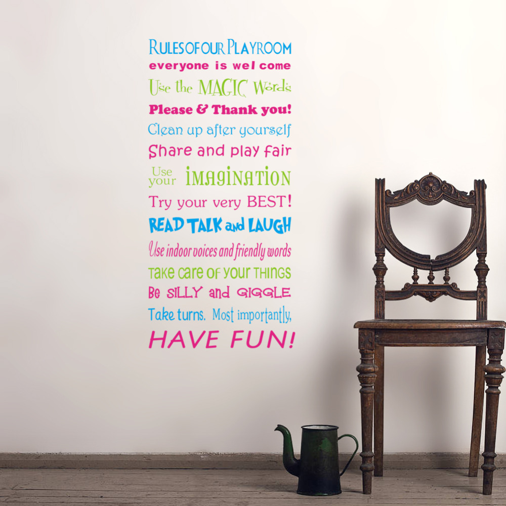 DIY Colorful Family Rules Quotes Saying Words Wall Sticker Home Decor  Fashion Waterproof Wedding Decoration Mural In Wall Stickers From Home U0026  Garden On ...