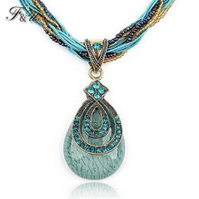F&U New Vintage Women Jewelry Drop with Crystal Around Bohemia Style Multilayer Beads Chain Handmade Retro Necklace #2071(China)