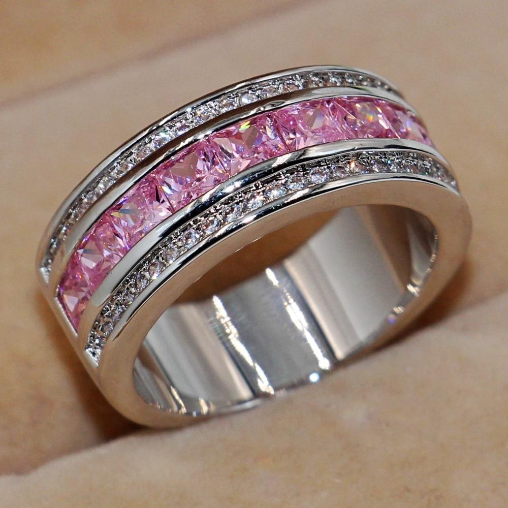 Victoria Wieck Women Princess Cut Pink Sapphire Simulated Diamond 10kt  White Gold Filled Engagement Wedding Band