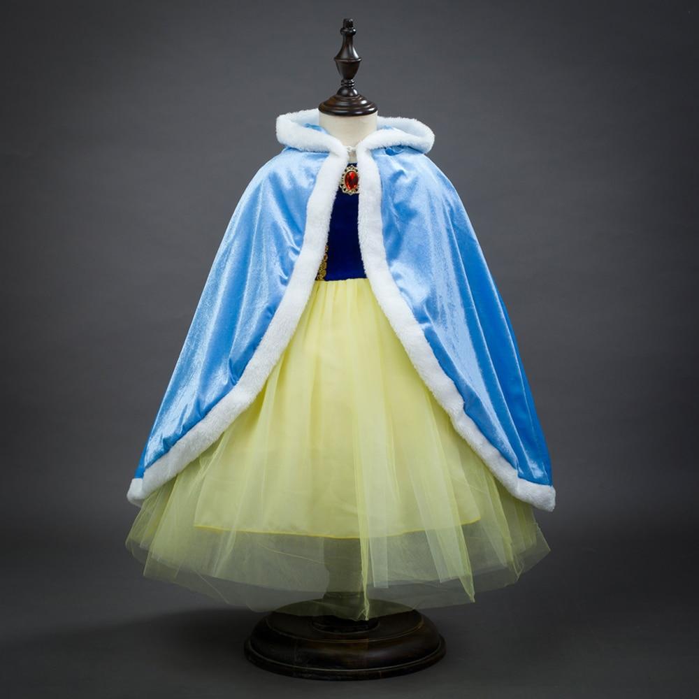 Winter girls Princess elsa cloak sleeping Beauty Shawls Anna Elsa Cosplay Costumes Kids Party Dresses