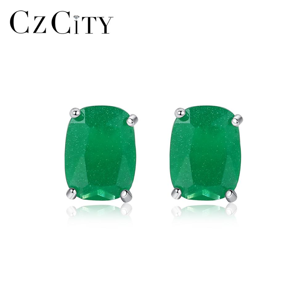 CZCITY New Real Solid Natural Stone Stud Earrings For Women Anniversary Fine Jewelry 925 Sterling Silver Pendientes Mujer SE0409