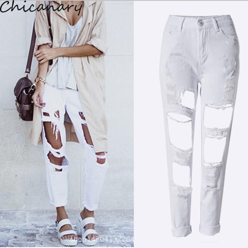 New Design Jeans Woman Sexy Hole Denim Pencil Long Pants European And American Style Spodnie Damskie
