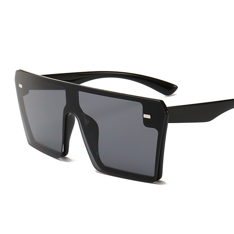 Oversized Square Sunglasses Women 2021 Luxury Brand Fashion Flat Top Red Black Clear Lens One Piece Men Gafas Shade Mirror UV400 19