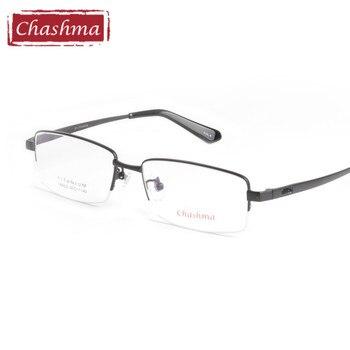 Chashma Brand Pure Titanium Eye Glasses Men Super Quality Ultra Light Half Frame Glasses oculos de grau Business Eyeglasses Male