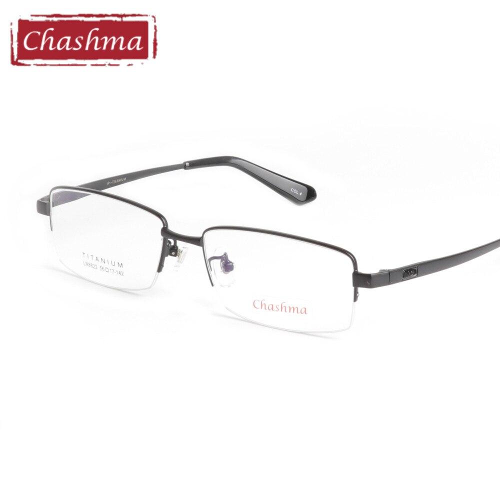 Chashma Marque Titane Pur Lunettes Hommes Super Qualité Ultra Lumière Demi-Trame Lunettes oculos de grau Business Lunettes Mâle