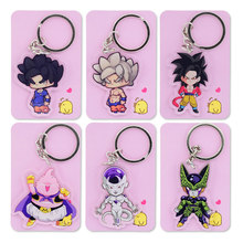 Dragon Ball Z GT Double Sided Clear Keychain Goku/Cell Super Saiyan Key Chain Hot Sale Custom made Anime Key Ring PCB155-161(China)