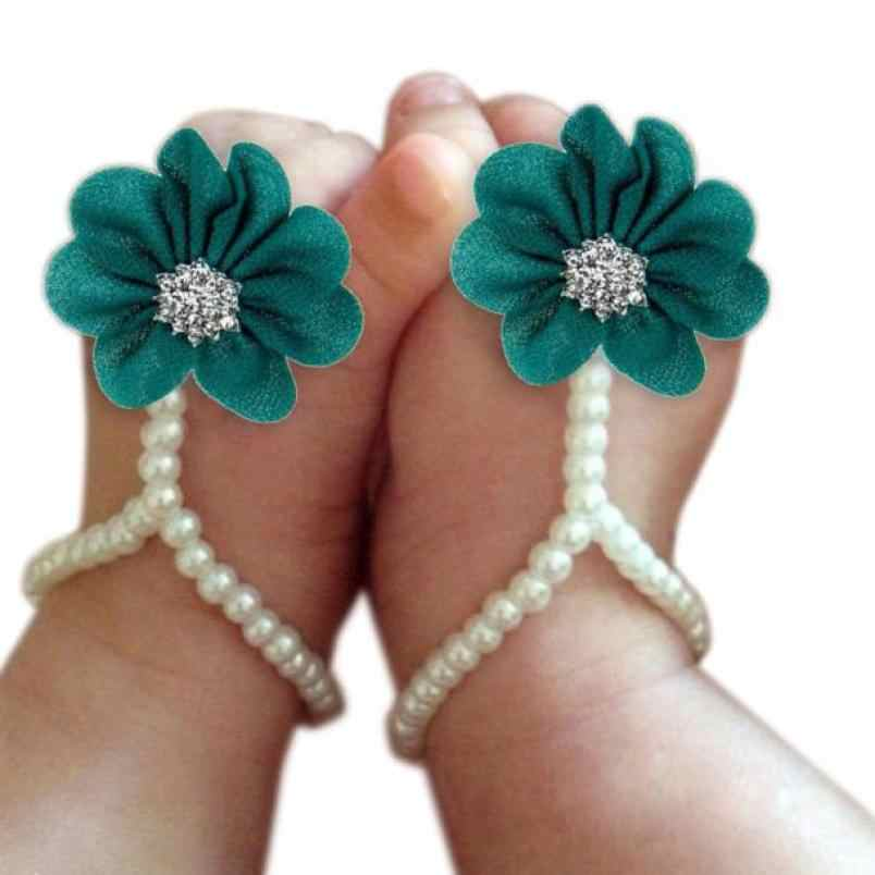 1Pair Infant Pearl Chiffon Barefoot Toddler Foot Flower Beach Sandals bebek bandana baby girl hair accessories bebek toka