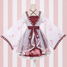 lolita Chinese style goldfish girl fake two pieces Dress printing ONE-PIECE Sakura blossom celebration