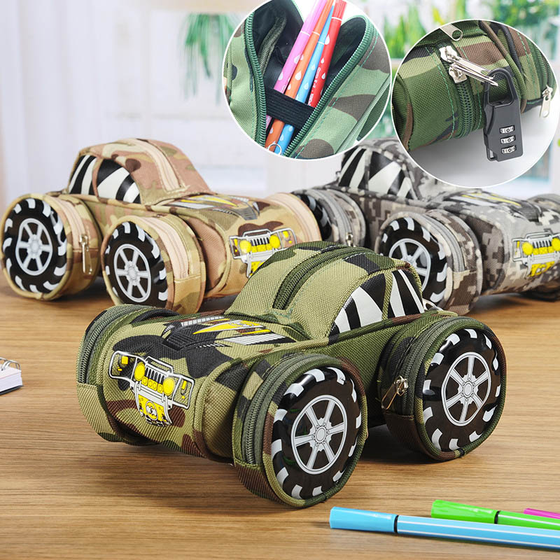 Student Creative SUV Style Pencil Bag Large Camouflage Zipper Car Shape Canvas Pencil Case With Lock Stationery Gift student creative war gun camouflage pencil bag large oxford canvas pencil case for boy gift school supplies