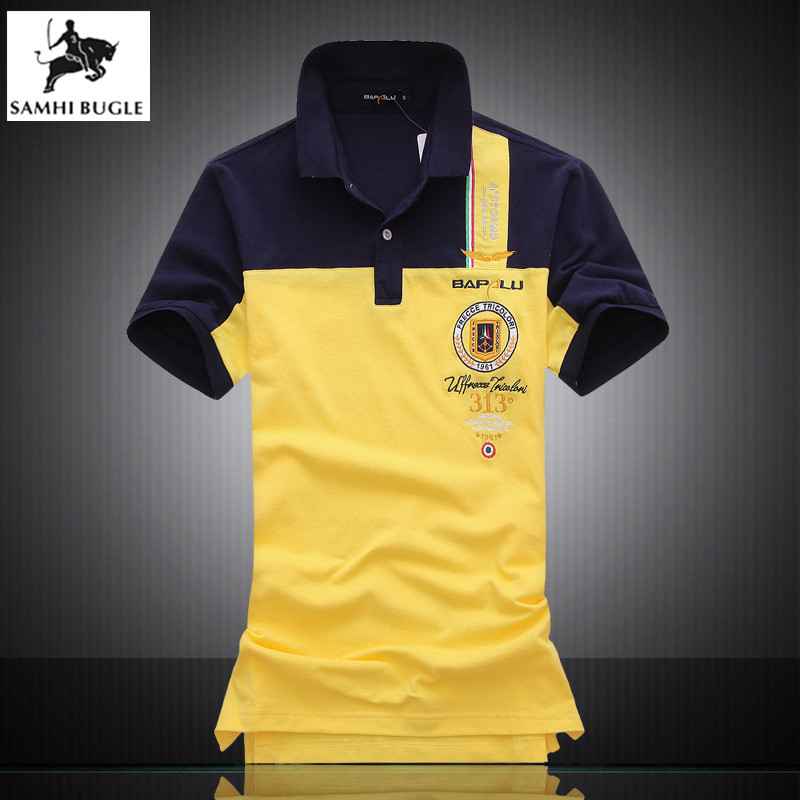 summer new men's boutique embroidery breathable 100% cotton   polo   shirt lapel Men's Air Force One Leisure Business   polo   shirt