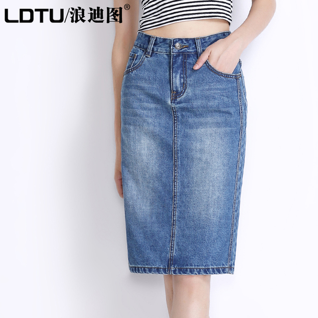 7e31f11de79 Free Shipping 2017 Fashion Knee Length Denim Skirt Plus Size M-3XL Female  Autumn Slim Hip Pencil Skirts For Women High Quality
