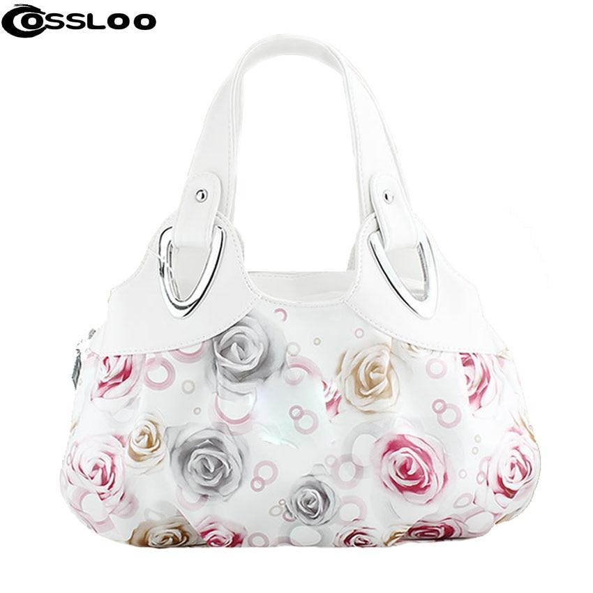 COSSLOO sacos das Mulheres pequeno saco ocasional de couro branco padrão de  flor de Mulheres bolsas bolsa de ombro bolsas de couro das mulheres  Populares 17ad7e987b9