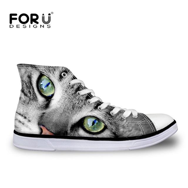 2016 Nueva Llegada 3D Del Gato Del Gatito de Impresión Zapatos de Las Mujeres Ocasionales altos Zapatos de Lona Superiores Pisos con cordones Zapatos chaussure femme Estudiante zapatos