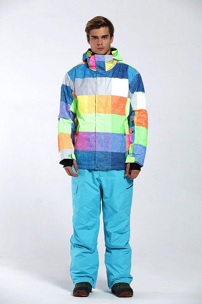 Бесплатная доставка GSOU SNOW Brand лыжный костюм Для мужчин лыжная куртка брюки зима Mountain Лыжный Спорт костюм Водонепроницаемый сноуборд устана... - 4