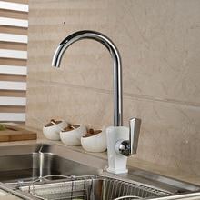 Элегантный белый керамические и хромированная отделка кухонной мойки кран смесителя