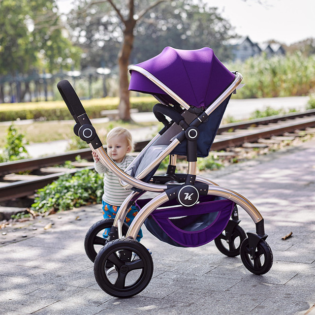 New design luxury  German Kuudy baby stroller high landscape  four wheel suspension two-way pram