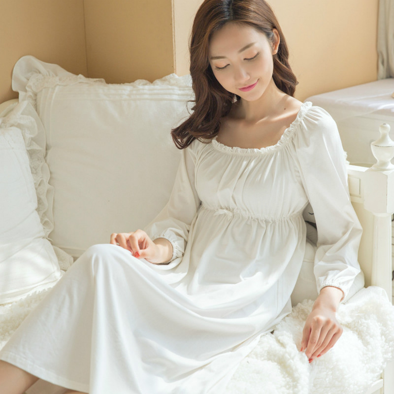 Long Cotton Nightgown Princess Sleep Lounge Pregnant Women White Home Dress Sleepshirts Female Nightdress Vintage Camisao CC448 spring new women long dress nightgowns white short sleeved nightdress royal vintage sweet princess sleepwear dress free shipping