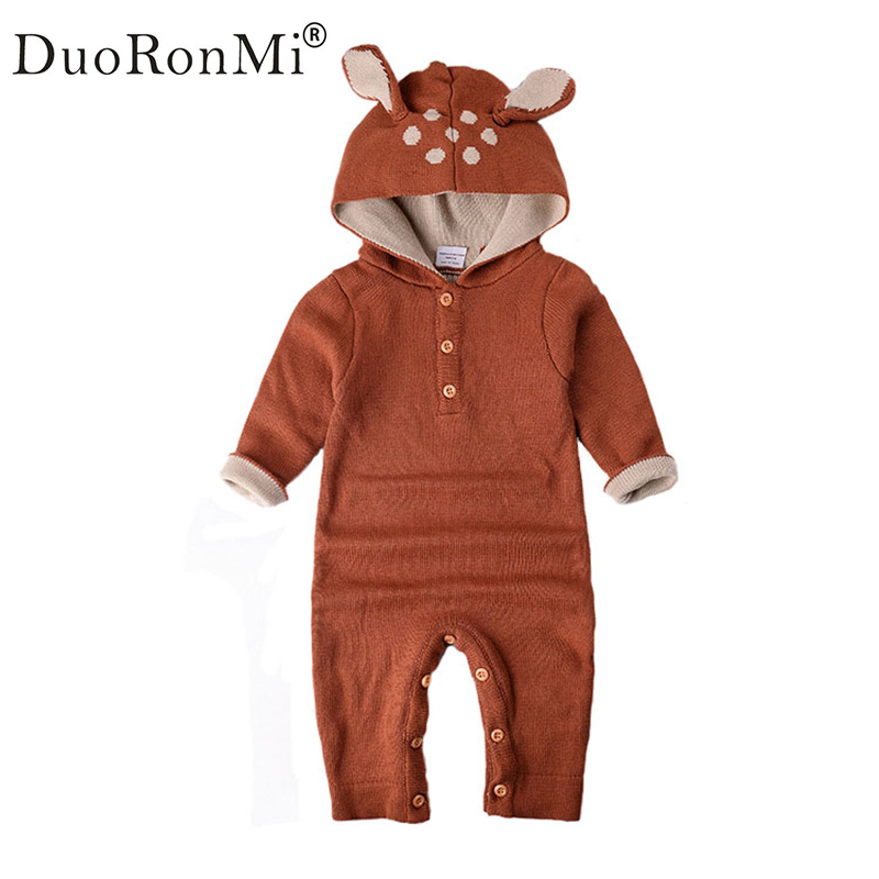 DuoRonMi Newborn Baby Rompers Hooded Infant Jumpsuit Spring Baby Girl Boy Knitted Sweater Rabbit Deer Roupas De Bebe Clothes