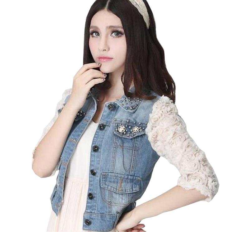 2016 new arrival Spring font b Women b font 3D Flower Lace Sleeve beaded Denim font