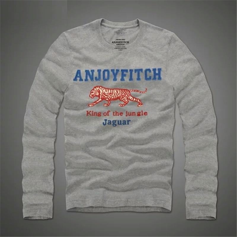 Camiseta hombre 100% algodón hombre bordado manga larga Casual - Ropa de hombre