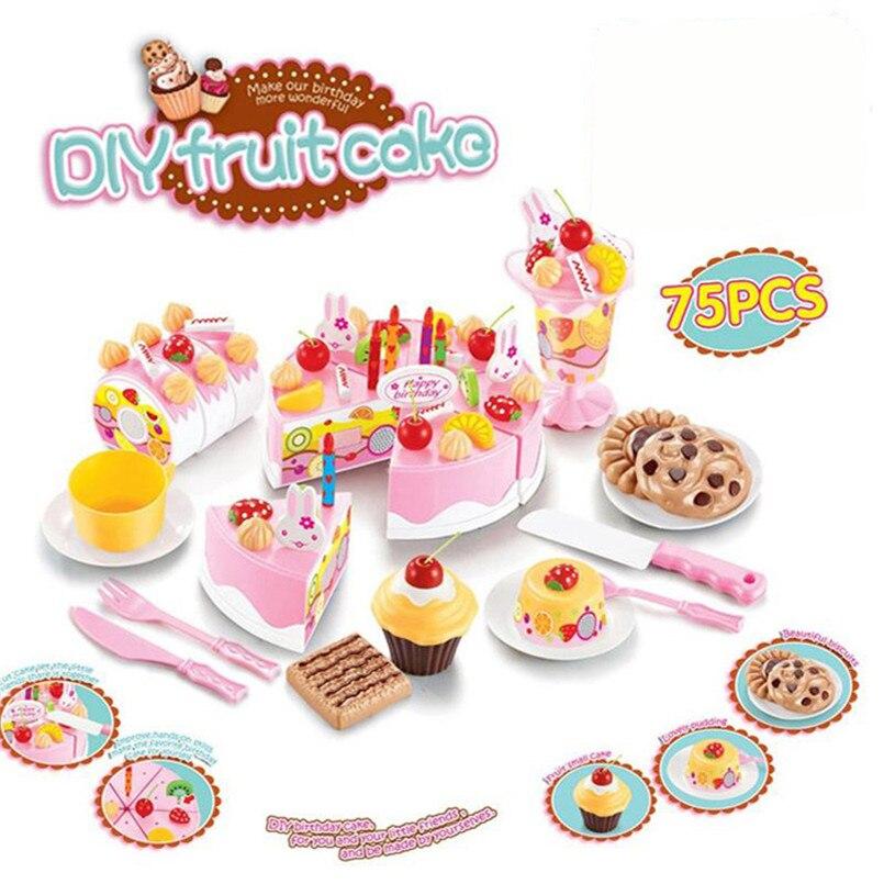 75 Stücke DIY Kinder Küche Spielzeug Pretend Schneiden Geburtstag Kuchen  Obst Creme Kunststoff Spielen Lebensmittel Tee