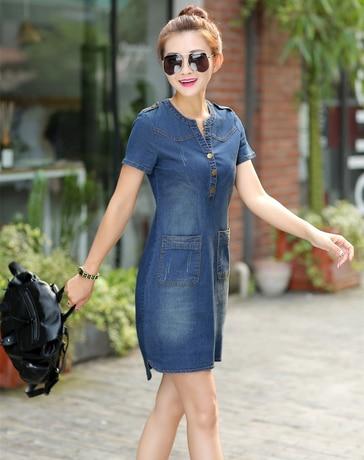 2019 new arrival summer women denim dresses short sleeves loose A word dresses plus sizes v-neck solid denim dresses 176A 25