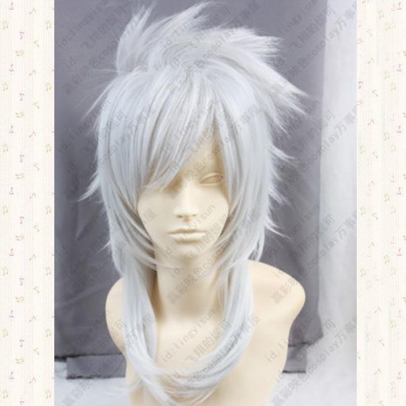 Magi Sharrkan Long Silver White Synthetic Cosplay Wig + Wig Cap