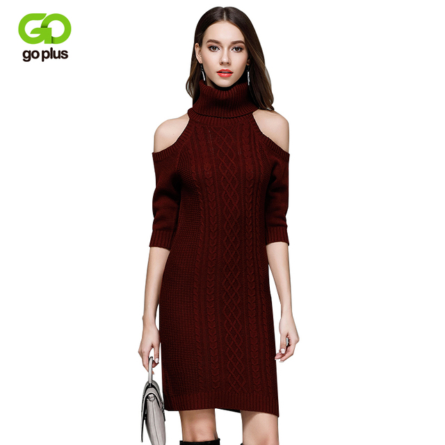 cadf2d2db72 GOPLUS 2019 Spring Off Shoulder Turtleneck Sweater Dress Female Bodycon Cable  Knitted Wine Red Three Quarter