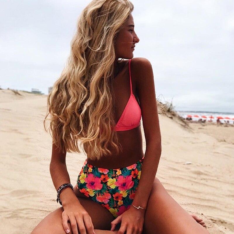 2019 Sexy Brazilian Bikini Swimwear Women Halter Push Up Bikini Set Swimsuit Female Floral Print Bandage Biquini Bathing Suit