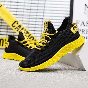 SHUJIN mężczyźni trampki oddychające dorywczo antypoślizgowe męskie buty wulkanizowane męskie siatka powietrzna zasznurować odporne na zużycie buty tenis masculino tanie i dobre opinie Mesh (air mesh) Płytkie Stałe Wiosna jesień men shoes Lace-up Niska (1 cm-3 cm) Pasuje prawda na wymiar weź swój normalny rozmiar