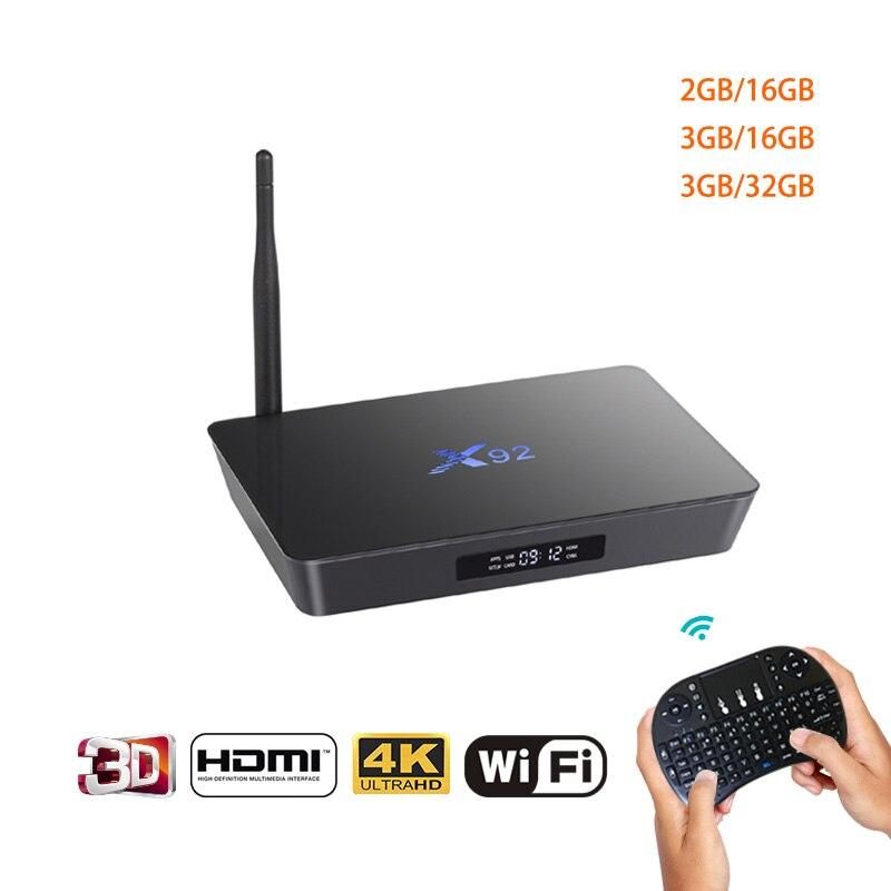 X92 Android 7.1 Smart 4 k TV Box 2 gb/3 gb DDR3L 16/32 gb Amlogic S912 octa Core CPU 2.4g 5g Wifi H.265 Bluetooth HDMI 2.0