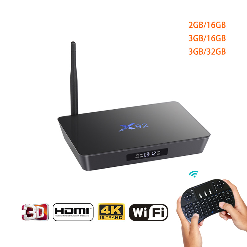 X92 Android7 1 Smart TV Box 2GB 3GB DDR3L 16 32GB Amlogic S912 Octa Core CPU