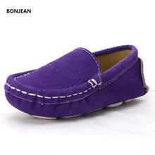 Girls Shoes Elegant Suede Sneakers Slip on Genuine Leather Boys Sneakers Teen Girls Flat Ballet Shoes Blue Black Purple Green
