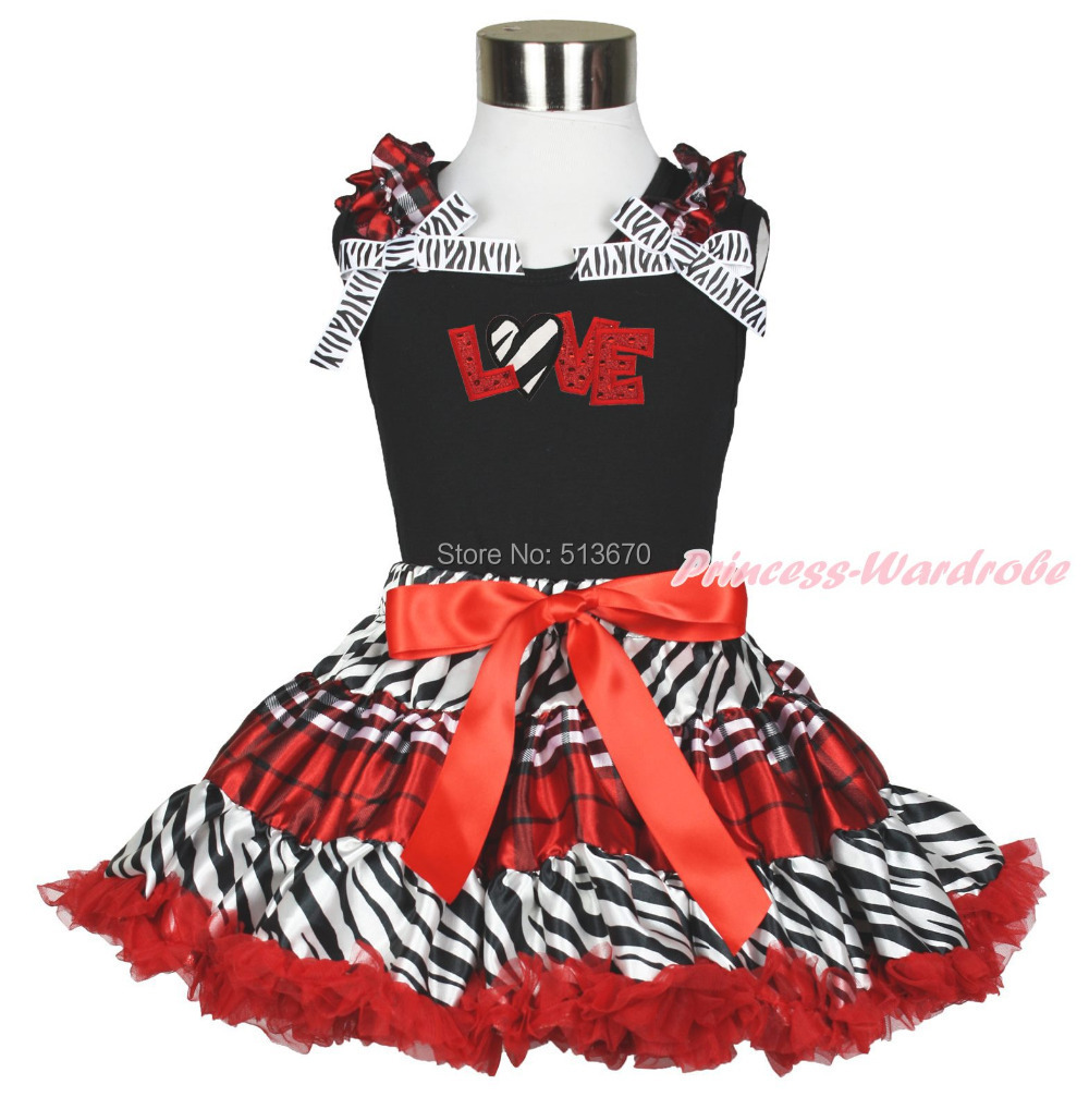 Valentine Zebra Heart Red Sparkle Love Black Top Red Black Plaid Pettiskirt 1-8Y MAPSA0350 xmas red orange yellow black roses brown top baby girl pettiskirt outfit 1 8y mapsa0038