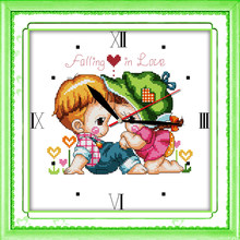 Tombez sous le charme kit point de croix 14ct 11ct compte impression toile horloge murale points broderie couture à la main travaux manuels plus(China)