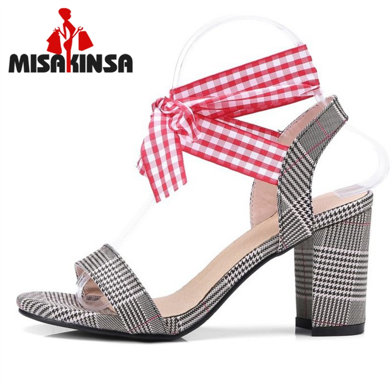 FITWEE 4 Color Size 33-43 Women High Heel Sandals Open Toe Cross Strap Striped Sandals Summer Leisure Shoes Women Footwear