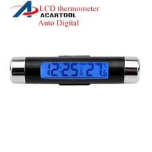Портативные 2в1 автомобильные цифровые ЖК-часы и температурный дисплей электронные часы термометр Автомобильная Синяя подсветка с зажимом