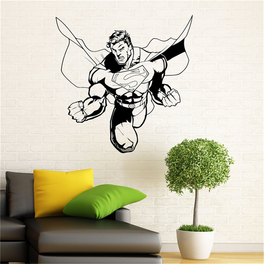 Superman Wall Vinyl Stickers Comics Superhero Interior Art